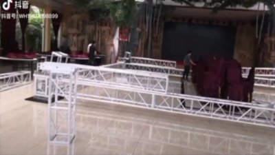 Wedding stage lighting stand construction site